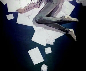 alone, anime, and black and withe image