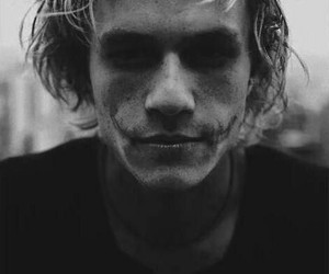 heath ledger, joker, and black and white image