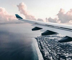 travel, plane, and city image