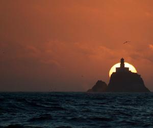 lighthouse, oregon, and sunset image