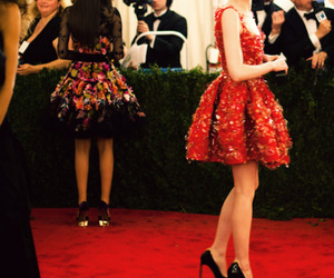 emma stone, red, and dress image