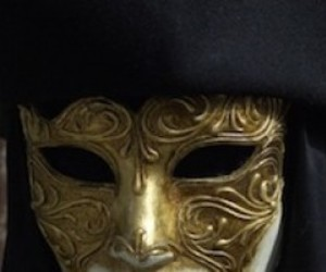 gold, mask, and scrolled image