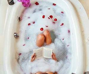 book, flowers, and relax image