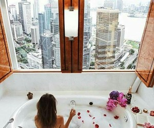 city, flowers, and shower image