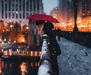 winter, girl, and city image