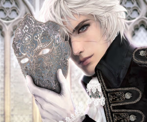 white hair, mask, and anime image
