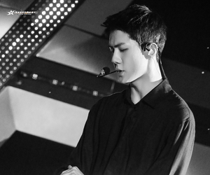 asian, black and white, and exo image