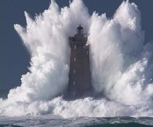 waves, lighthouse, and ocean image