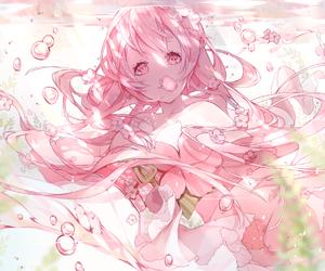 anime, anime girl, and pink image