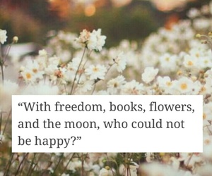 books, quote, and flowers image