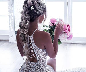 hair, flowers, and dress image