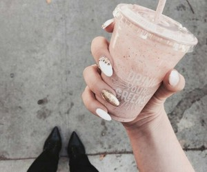 drink, nails, and coffee image