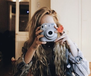 camera, girl, and photographer image