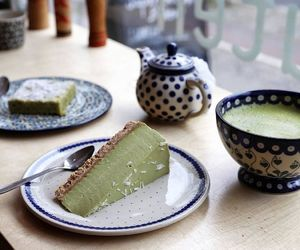 cake, cheesecake, and green tea image