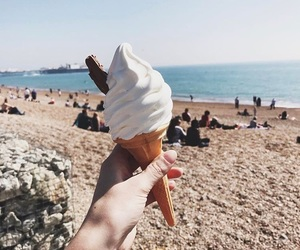 beach, sand, and icecream image