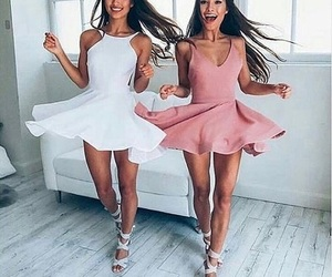 dress, friends, and pink image
