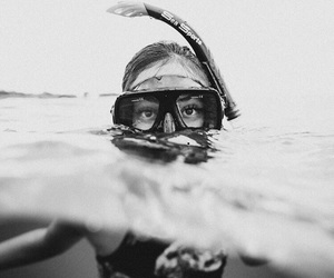 black and white, ocean, and summer image