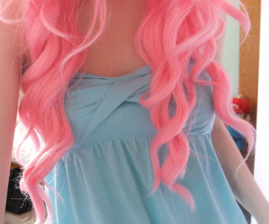 blue dress, girl, and pink image