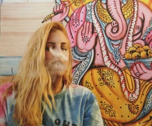 girl, smoke, and hippie image
