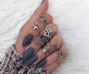 nails, grey nails, and rings image