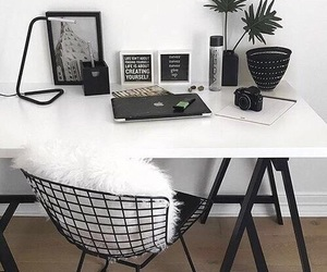 bedroom, black and white, and desk image