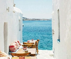 travel, Greece, and mykonos image