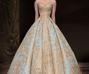 beautiful, dress, and gold image