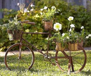 beautiful, garden, and bicycle image