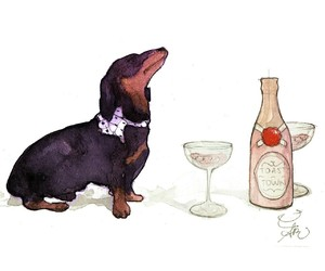 champagne, kate spade, and watercolor image