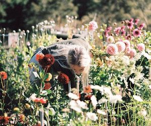 flowers, girl, and garden image