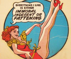 Pin Up, vintage girl, and fattening image