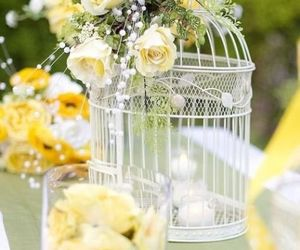 beautiful, birdcage, and flowers image