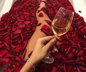 rose, bath, and red image