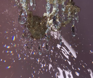 beautiful, chandelier, and crystals image
