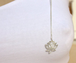 etsy, flower necklace, and lotus flower image