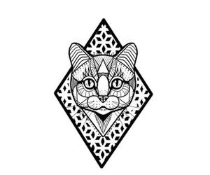 black and white, cat, and geometric image