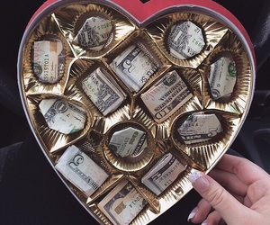 money, chocolate, and heart image