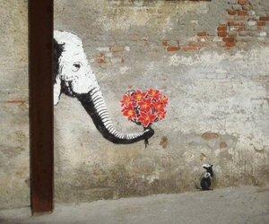 elephant, flowers, and art image
