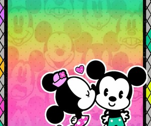 colorful, mickey mouse, and minnie mouse image