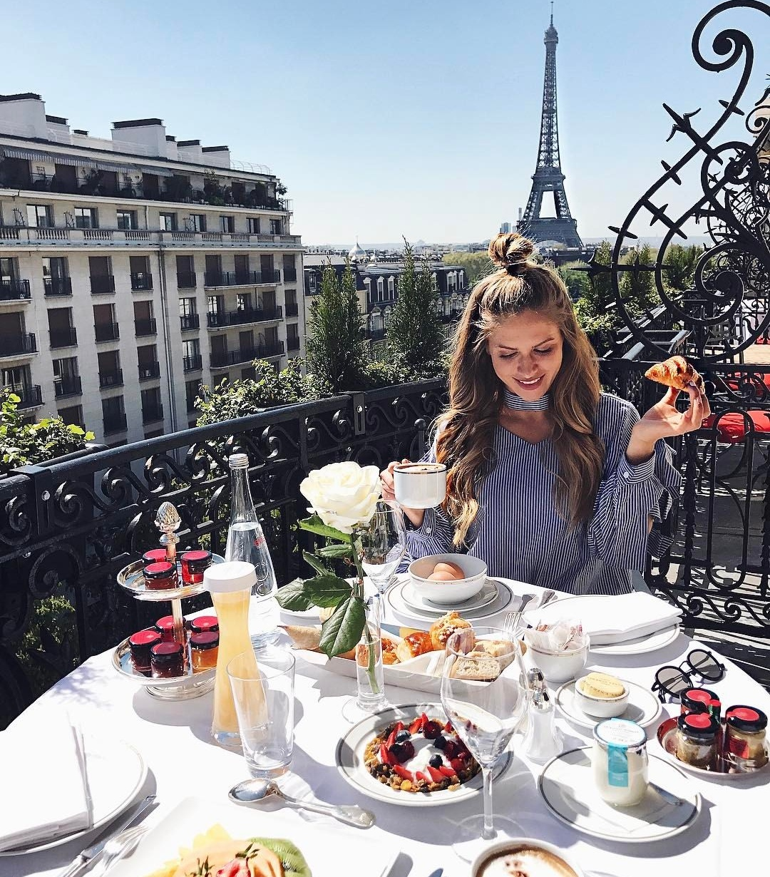 girl, breakfast, and paris image