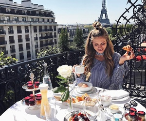 girl, breakfast, and paris image