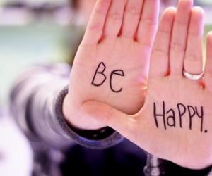 happy, be happy, and hands image