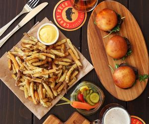 burgers, fries, and chips image