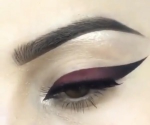eyeliner, eyes, and red image