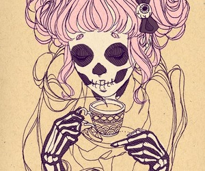 skull, tea, and skeleton image