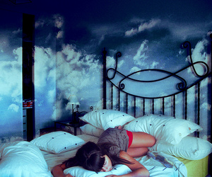 bed, bedroom, and sky image