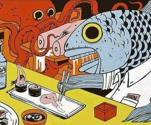 sushi, fish, and art image