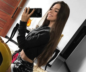 brunette, fit, and mirror selfie image