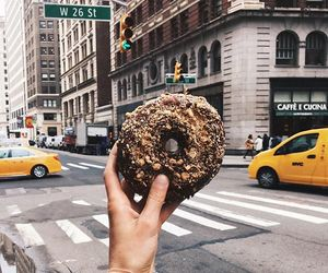 food, city, and donuts image