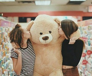 girls, friends, and bear image